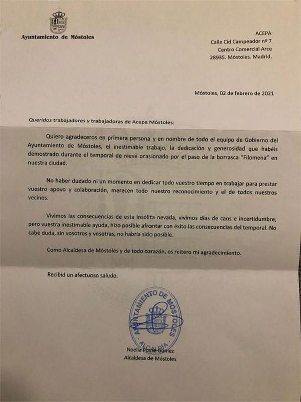 Agradecimientos del Ayuntamiento a Acepa por Filomena